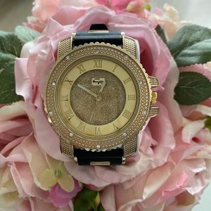 Gold black big face flashy icy watch silicon